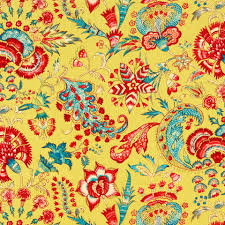 Upholstery Weight Fabric Yellow Linen Floral Fabric Modern Red Upholstery Weight