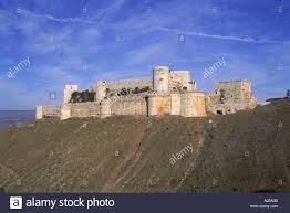 the east wall of krak des chevaliers crusader castle built 1150