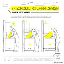 Ergonomic Kitchen Design Ergonomics Kitchen Design Vector Illustration In Line Style On