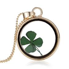 clover leaf necklace images Lucky nature dried clover leaf locket pendant necklace pressed jpg