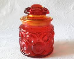 Red Glass Kitchen Canisters by Kitchen Canister Etsy
