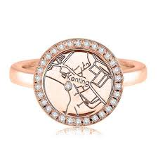 Map Rose 14k Rose Gold Circle Map Ring Maps By A Jaffe