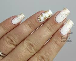 festive white and gold glitter gradient u0026 snowflake nails lucy u0027s