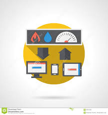 home technology round color detailed icon stock illustration
