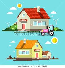 House Flat Design Vector Flat Design Paper Houses Buildings Stock Vector 247298890