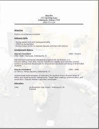 Sle Resume Of Child Caregiver Sle Resume For Child Care Assistant Targer Golden Co