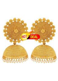jhumki earring buy adwitiya collection 24k gold plated designer jhumki earring