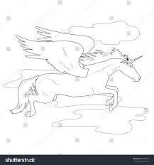 coloring flying clouds fabulous unicorn pegasus stock vector