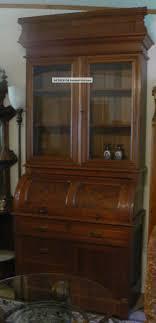 special antique burled walnut cyndrical roll top bookcase bureau