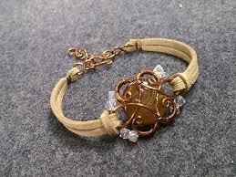 wire jewelry bracelet images Bracelet with leather cord and stone no hole diy copper wire jpg