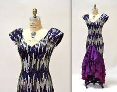 80s Prom Dress Size 12 Iridescent Fringe Beaded Sequin Dynasty Gown Fringed Beading