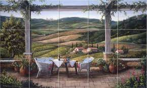 Kitchen Tile Backsplash Murals by Tuscany An Italian Terrace Kitchen Tile Backsplashes Murals