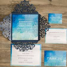 blue wedding invitations blue watercolor laser cut wedding invites iwsm061 wedding
