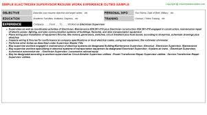 Electrical Supervisor Resume Sample Supervisor Job Description For Resume Resume Badak
