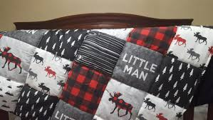 Baby Blanket Comforter Little Man Moose Patchwork Fabric Baby Blanket Or Quilted