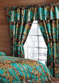 teal 5 piece hunter camo curtain set