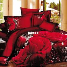 Queen Size Red Comforter Sets Big Rose Printed Bedding Set 3d 100 Cotton Duvet Cover King Queen