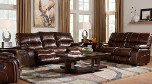 cindy crawford home gianna brown leather 2 pc living room with