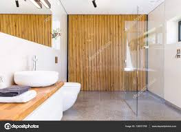 Wood Divider Bathroom With Wooden Divider Idea U2014 Stock Photo Photographee Eu
