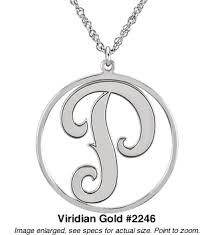 monogram neclace necklace with single letter in 10k white or yellow gold 2246