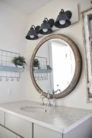 diy farmhouse bathroom vanity light fixture and round mirror