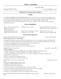 sales medical device resume sample for business plan examples