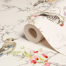 bird wallpaper statement ornithology birds metallic effect wallpaper metallic