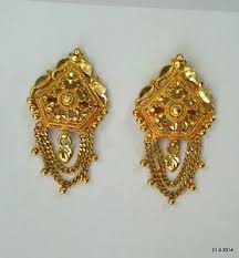 gold earings traditional design 20k gold earrings handmade jewelry rajasthan
