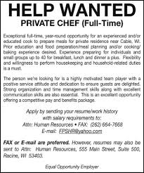 Salary Requirement On Resume Help Wanted Private Chef Racine Wi