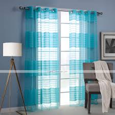 Turquoise Living Room Curtains Modern One Panel Stripe Blue Living Room Rayon Panel Curtains