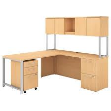 Bush L Shaped Desk With Hutch Bush Business 400 Series L Shaped Desk With Hutch In Maple