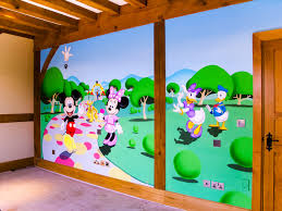 mickey mouse clubhouse mural sacredart murals mickey s clubhouse wall mural hand painted in girl s bedroom