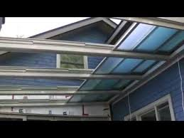 Glass Pergola Roof by Retractable Glass Roof Installation Youtube
