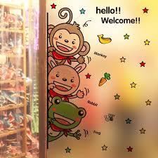 stickers for glass doors cute animals rabbit frog monkey wall art mural decor nursery