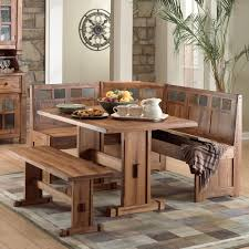 Rustic Small Breakfast Nook Table Set And Chairs With Bench Seat - Kitchen nook table