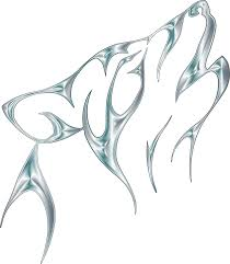 clipart silver tribal wolf no background