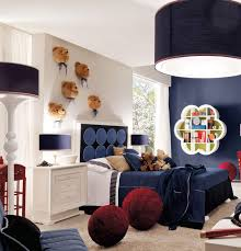 attractive bedroom with navy rooms decor theme with lush furniture