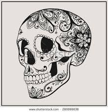 vector black sugar skull illustration stock vector