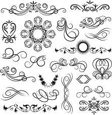 black floral ornaments illustration vector 03 vector floral