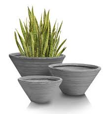 low round grey ridged garden planter patio flower plant pot