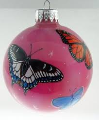 blown glass ornament with butterfly insects