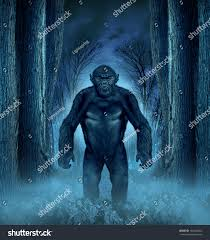 halloween scary background forest monster concept werewolf lurking bigfoot stock illustration