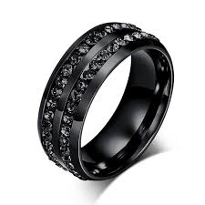 mens black titanium wedding rings hot quality black titanium steel rings men diamond jewelry rings