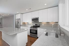 White Formica Kitchen Cabinets Glass Subway Tiles Kitchen Grey Soft Leather Sofa Dark Countertops