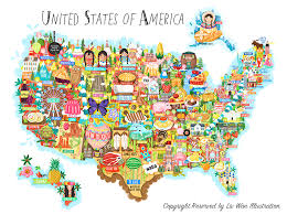 anerica map united states of america map illustration liv wan illustration