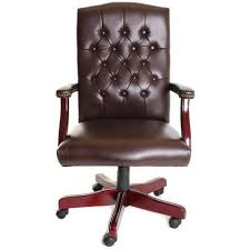 tufted leather desk chair mid back traditional tufted leather executive office chair brown by