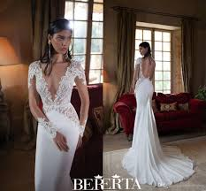 simple wedding dresses uk 2016 berta wedding dresses lace plunging v neck sleeves