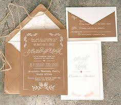 Kraft Paper Wedding Invitations Brown Wedding Invitations Rectangle Potrait Floral Pattern Vintage