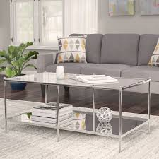 cheap mirrored coffee table latitude run busey glam mirrored coffee table reviews wayfair