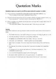 Quotation Marks Worksheet Direct Speech Quotation Marks